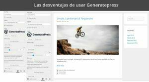 Las desventajas de usar Generatepress